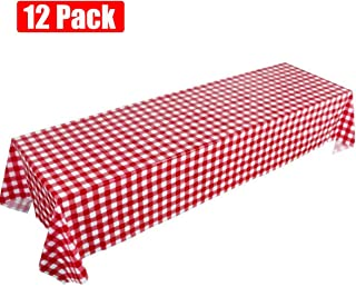 Picnic Tablecloth, Red Gingham Checkered Disposable Table Covers, 12 Pack Plastic Table Cloths for Cowboy Western Italian Camping Barn Yard Birthday Farm Party (12 Pack Red Gingham)