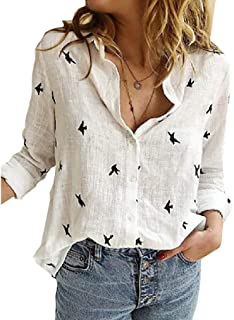 Zimaes Women's Roll up Long Sleeves Button Down Linen Cotton Blouse Tunic Tops