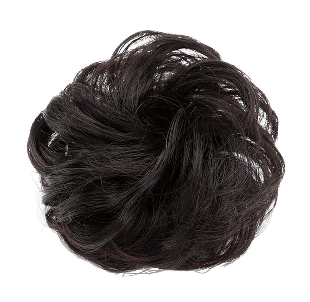 流乏しい雪だるま弾性ヘアバンド短い髪型ツール偽の髪のバンズ結婚式ヘアピース(自然な黒)