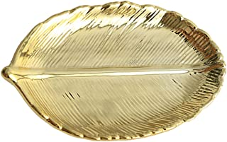 HEKEUOR Leaf Dish - Gold Leaf Dish - Ring Dish Holder for Jewelry Engagament Wedding Birthday Gifts