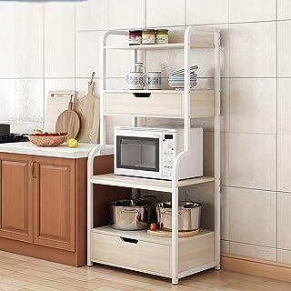 Vobajf Étagère Micro-Ondes Cuisine Rack étagère de Rangement 4 Utilité-Tier Plateau avec 2 tiroirs for Four Spice Logement...