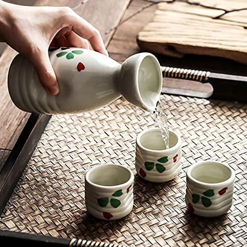 XHZH Pote De La Taza De Cerámica De Sake, Estilo Japonés De Sake De Sake, Creativo Y Único Conjunto Moderno Personalizado Sake Shochu Jarra, Conjunto De 4 Piezas 0802