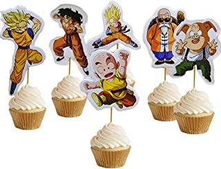 ELSANI 48Pcs Dragon Ball Cupcake Toppers Birthday Party Supplies Decorations