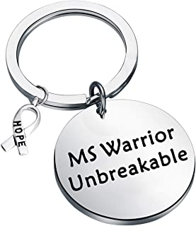 FEELMEM MS Awareness Jewelry Ms Warrior Unbreakable Keychain Multiple Sclerosis Awareness Gift Cancer Fighter Gift MS Survivor Inspirational Hope Gifts