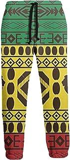 ishengx Pantaloni Uomo Jamaica Drawstring Waist,100/% Cotton,Elastic Waist Cuffed,Jogger Sweatpants