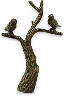 Royal Designs Small Birds in Tree Lamp Finial for Lamp Shade- Antique Brass
