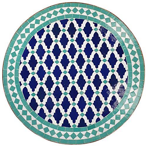 Casa Moro Mediterraner Mosaiktisch M60-52 Ø 60cm rund Blau-Türkis mit Gestell Höhe 73cm Kunsthandwerk aus Marokko Dekorativer Balkontisch Gartentisch Beistelltisch | MT2133