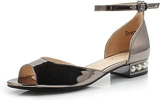 Women's Alina Pearl Embellished Low Block Heel Sandal Wedding Office Party Dress Shoes