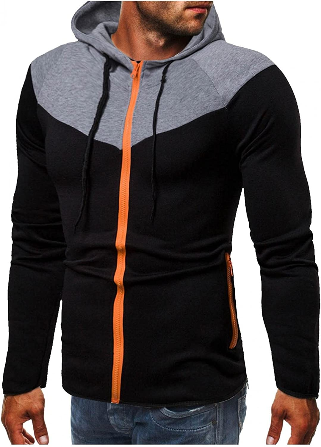 Qsctys Pullover Hoodies Mens Sweatshirts Zip Up - Casual Patchwork Fall Winter Warm Hooded Workout Sport Jackets Lightweight