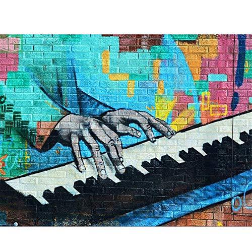 Mrlwy Spielen von Klavier Wandbild 3d Bricks Wallpaper Wandbild für Rock Bar Coffee KTV Hintergrundbild Fototapete-280X200CM