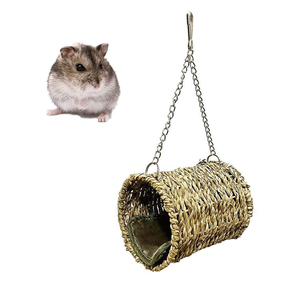 ZYZ Hamster Hamaca, Nido de algodón cálido Tejido de Paja Natural Cojín de Terciopelo cálido para Hamsters Chinchilla Ardilla Loro Nido Hamaca: Amazon.es: Hogar