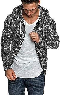 Men Hooded Sweater Coat, Male Solid Long Sleeve Cardigan Outwear Sweatshirt Jacket