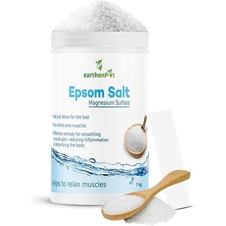 EarthenPot, Epsom Salt for Foot Bath Body Relax Muscle Relieves Aches Pain 1kg, 1000 gram