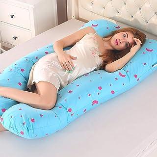 BeesClover Creative Lifestyle Almohada de apoyo para dormir desmontable para mujeres embarazadas Body Pillow U Forma de Maternidad Almohada Embarazo Lateral Dormir 70x130cm Azul