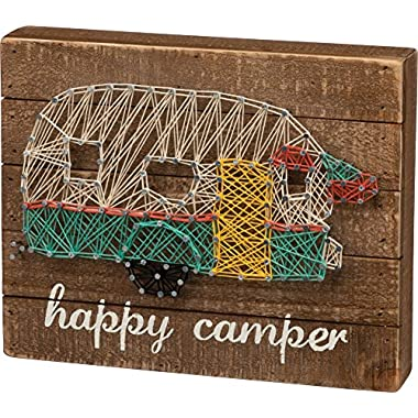 Primitives by Kathy 30458 String Art Wood Box Sign, 10  x 8 , Happy Camper