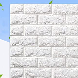 3D Wall Sticker Self-Adhesive Wall Panels Waterproof PE Foam White Wallpaper for Living Room TV Wall And Home Decor (Brick...
