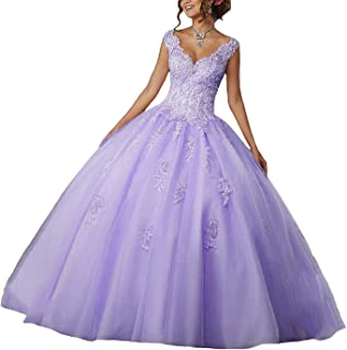Women's V Neck Ball Gown Long Quinceanera Dress Tulle Appliques Beading Prom Dresses Hear261