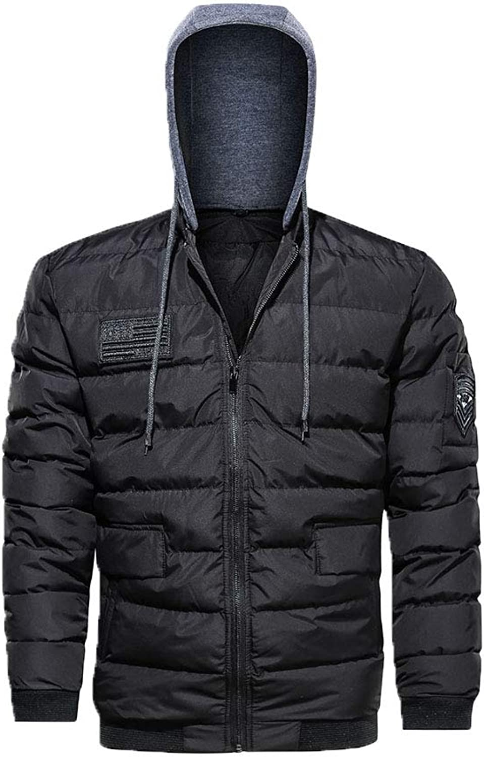 OMAS Men's Winter Warmer Thicken Puffer Hooded Jacket Removable Hooded Coat