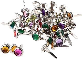 Deolven Mini Attaches,100 Multicolores Pack Mini Brads en Métal Brads Scrapbooking Ronds pour Artisanat en Papier