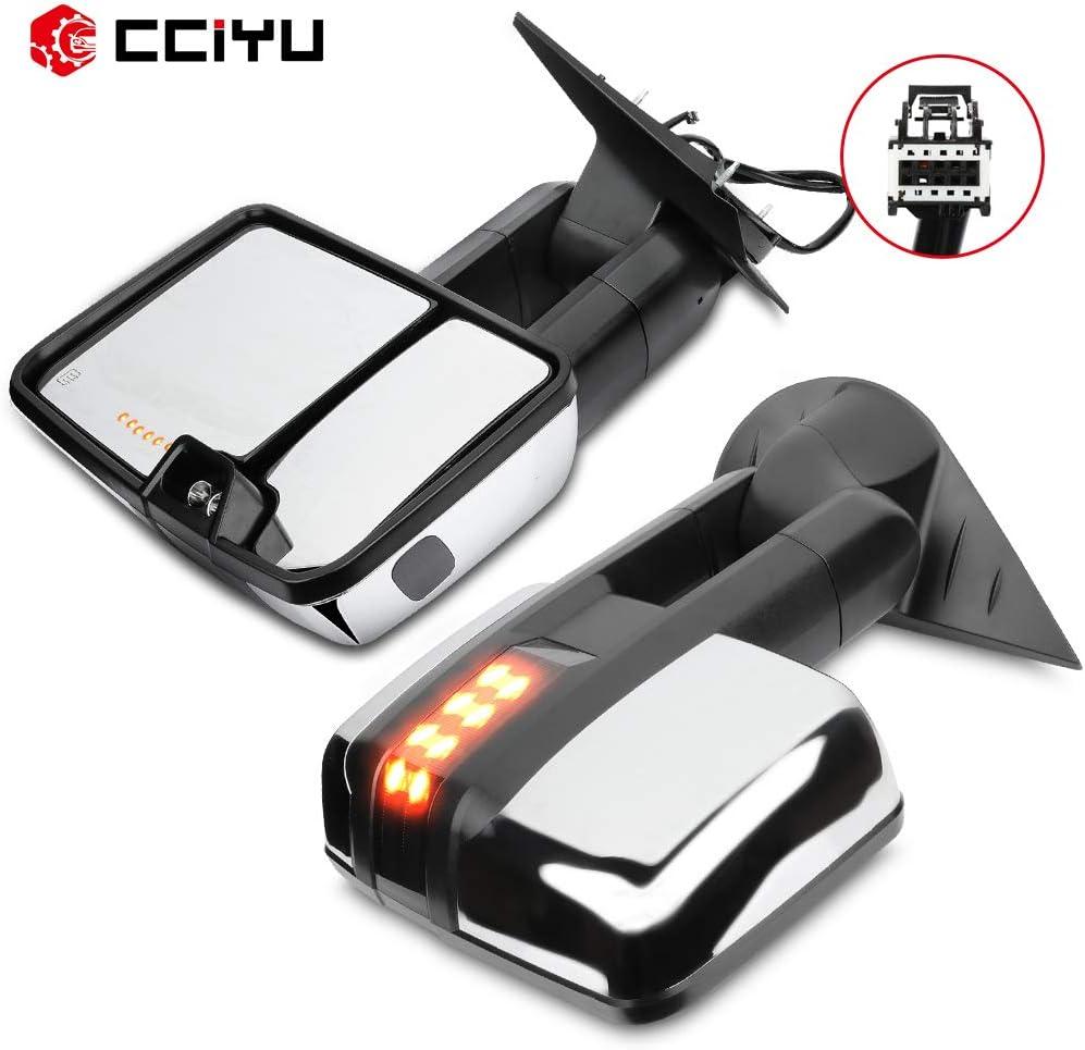 cciyu Tow Mirrors Car Mirrors LH Left RH Right Chrome Towing Mir
