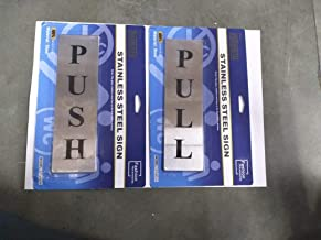 ZHENGTU Self Adhesive Stainless Steel Push & Pull Metal Door Signage Board Combo