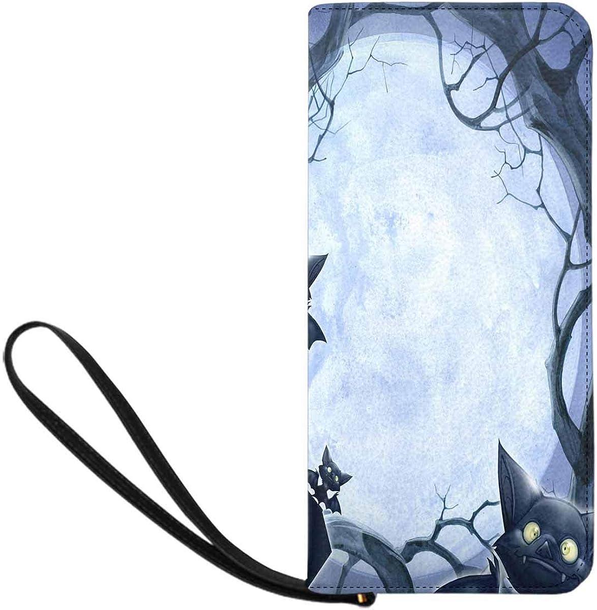 INTERESTPRINT Halloween Castle Bat Evening Bag for Women,Wedding Evening Clutch Purse Bag