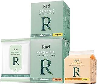 Rael Organic Pads Value Packs - Regular Pads, Overnight Pads, Regular Liners and Feminine Wipes