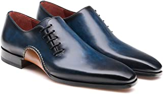 Costoso Italiano Navy Blue Leather Formal Lace Up Wholecut Oxford Shoes for Men