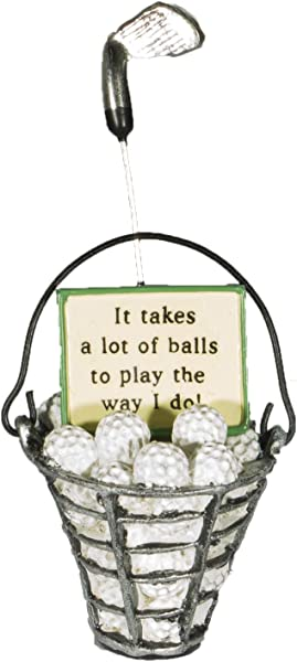 MIDWEST CBK Funny Golf Lovers Bucket Of Golf Balls Christmas Everyday Ornament Green