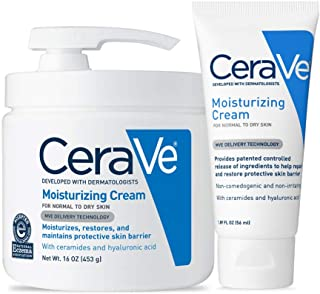 CeraVe Moisturizing Cream Combo Pack | Contains 16 Ounce with Pump and 1.89 Ounce Travel Size | Fragrance Free
