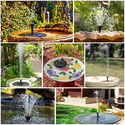 AISITIN 3.5W Solar Fountain Pump, Solar Water Pump Floating Fountain built-in 1500mAh Battery, with 6 Nozzles, for Bird Bath, Fish tank, Pond or Garden Decoration solar aerator pump