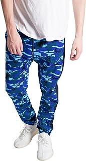KDNK Men's Stretch Fit Twill Cotton Elastic Drawstring Striped Camo Joggers