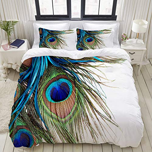 HARXISE Bettwäsche - Bettwäscheset Pfauenfedern Multicolor Bettbezug Kissenbezug Set Bettbezug 200 * 200cm, Kissenbezug 80 * 80CM * 2
