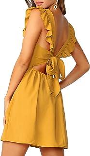 Romwe Women's Cute Tie Back Ruffle Strap A Line Fit and Flare Flowy Short Dress