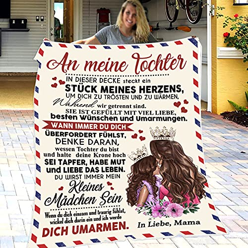 Personalisierte Flanell Decke, Mutter zu Tochter Kuscheldecke Wohndecke, Luftpostbrief Blanket Bettüberwurf Erhältlich Decke Tagesdecke für Sofa & Bett Falten-widerstandsfähig Schmusedecke 150x200cm