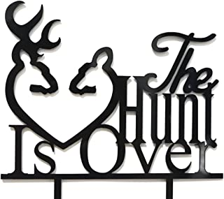 Qttier The Hunt is Over with Deer Silhouette Cake Topper -Wedding, Engagement Party Decorations(Black)