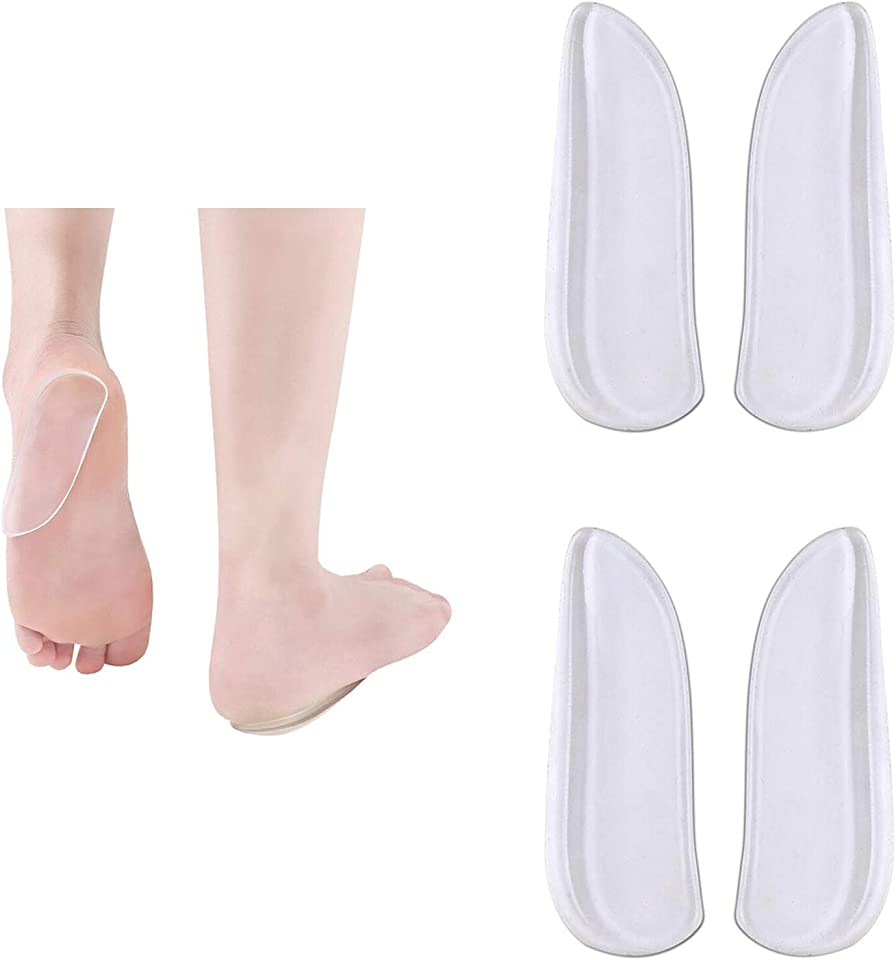 Medial & Lateral Heel Wedge Silicone Insoles - Corrective Adhesive Shoe Inserts for Foot Alignment, Knock Knee Pain, Bow Legs, Osteoarthritis for Men and Women (2 Pairs)