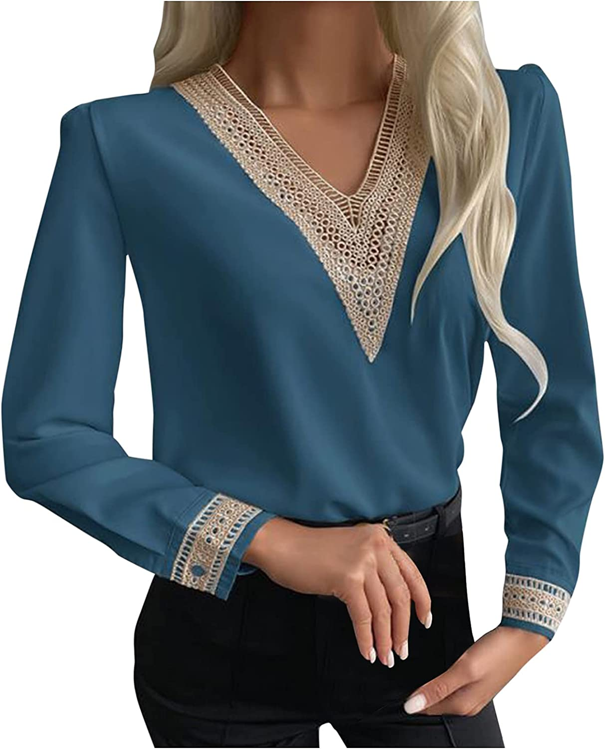 Fashion Women's Blouse Long Sleeve Solid Color Top Blouse Lace Patchwork V-Neck Casual Slim Fit Shirts