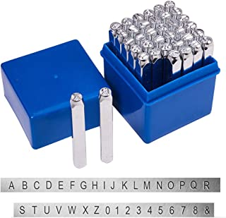 PandaHall Elite 36 Pcs Letter Number Metal Stamp Set, 1/5 inch 5mm Alphabet A-Z and Number 0-9 and Symbol, Iron Uppercase Stamps Punch Press Tool for Imprinting on Metal Jewelry Leather Wood
