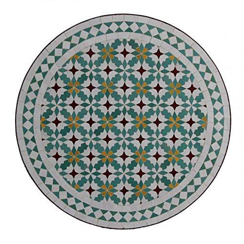 Casa Moro Mesa de jardín mediterránea   Mosaico marroquí M60-41 Flores   Diámetro 60 cm con...