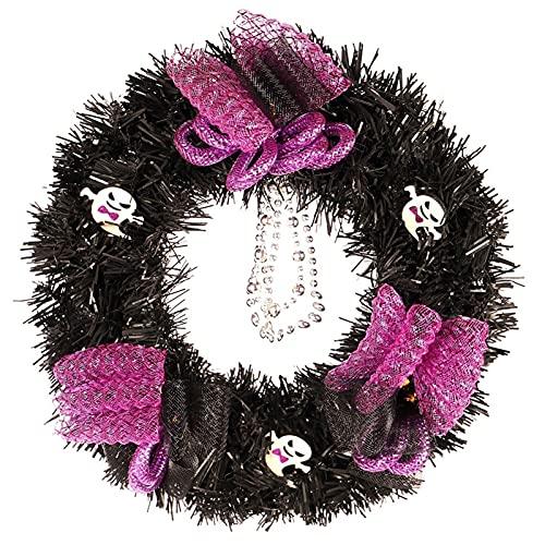 guirnalda LIU- Corona De Halloween Negra con Cinta De Malla Púrpura Corona De Decoración De Puerta Delantera De Halloween para Accesorios De Fiesta En Casa (batería No Incluida)