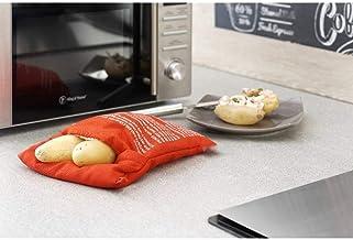 Artlalic G030 - Bolsa de Cocina Lavable para microondas y Patatas horneadas (se cocinan 4 Patatas a la Vez), Color Rojo