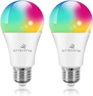 WiFi Smart Light Bulbs, Compatible with Amazon Alexa, Echo, Google Assistant and IFTTT, ENSHINE A19 60W Equivalent RGB Color Changing LED Bulb, Tunable White 2700K-6500K, No Hub Required (2 Pack)