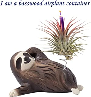 Sloth Gift Handmade Wooden Sloth Statue for Air Plant Home Office Bathroom Decoration (1)