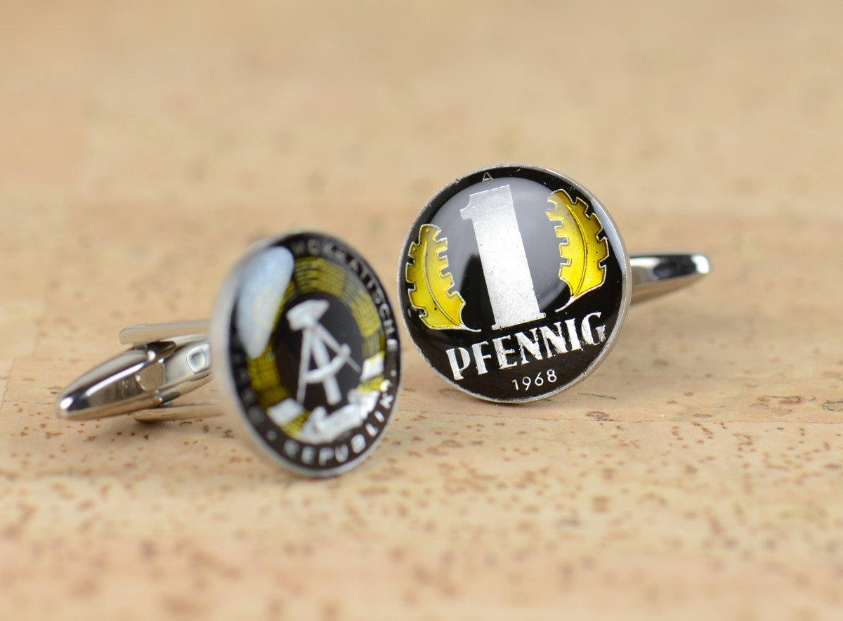 Cufflinks Max 86% OFF hand Fresno Mall painted enamel coin.Germany