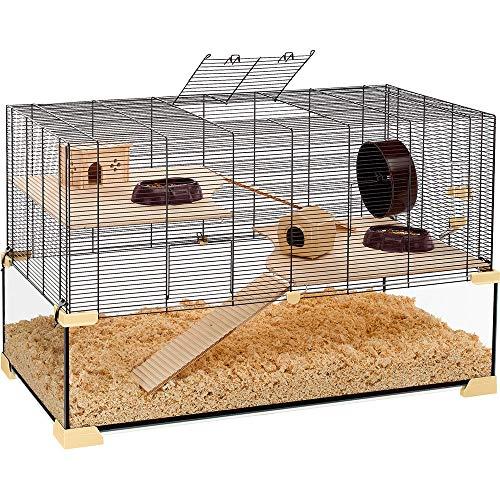 Ferplast Käfig für Hamster oder Mäuse KARAT 100 Kleine Nagetiere, Zwei Ebenen mit Zubehör, aus Glas und Metallgitter