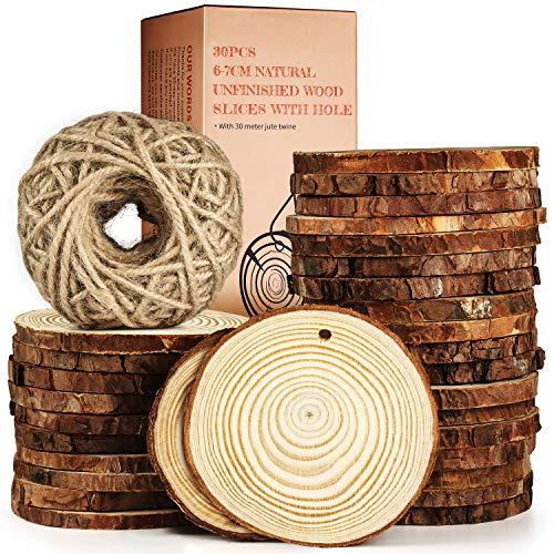 Juego de 30 rebanadas de madera de TJ.MOREE para creación artística, gran regalo para artes y manualidades infantiles, cuerda de yute, adornos de Navidad, artículos de manualidades