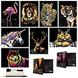 Scratch Art for Kids & Adults, Rainbow Engraving Painting Landscape Scratchboard(A4) Crafts Set: 8 Sheets...