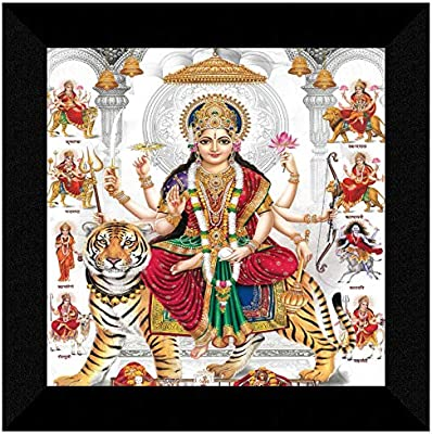 SAF Sherowali Nav Durga maa UV Textured Home Decorative Gift Item Framed Painting 12 Inch X 12 Inch SANFN159