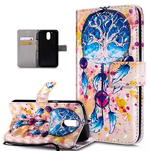 Kompatibel mit Motorola Moto G4 Plus Hülle,3D Bunte Gemalte Schmetterlings PU Lederhülle Flip Ständer Wallet Handy Hülle Tasche Handy Tasche Schutzhülle für Motorola Moto G4 Plus,Bunte Feder Campanula